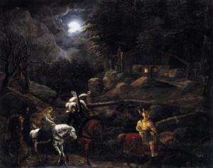 Carl-Philipp-Fohr-XX-Knight-before-the-Charcoal-Burners-Hut-1816-XX-Nationalgalerie-Berlin