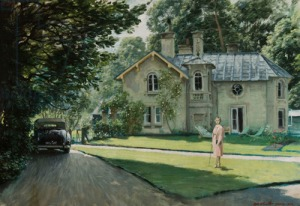 View of the Daye House with Edith Olivier Standing on the Lawn, 1942 (oil on board)