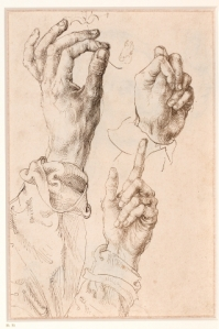 3 studies of the artist's left hand c.1493-4