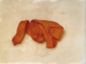 Orange tie folded 1975 watercolour