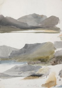 Cornelius-Varley-Three-studies-of-Mount-Snowdon-c.1805