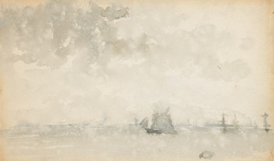 Grey and Silver, North Sea, c.1884, wc, Whistler